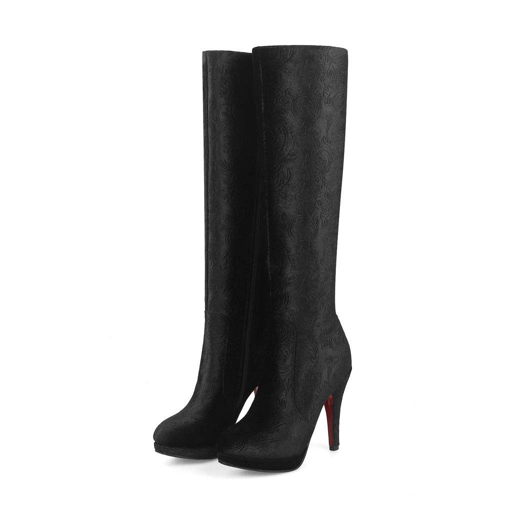Black High Heel and Knee Boots, Waterproof Platform Round Head High Boots Side Zipper Satin Non-Slip Warm Knight Boots Suitable for Parties, Shopping, Dating Women's shoes