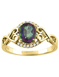14K Gold Natural Mystic Topaz Ring Oval 8x6 mm Diamond & Heart Accents, sizes 5 - 10