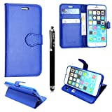 Apple ipod touch 4 4th Gen. Case, Kamal Star® Premium PU Leather Magnetic Case Cover with ATM card and Note slots + Free Stylus (Plain Blue Book)