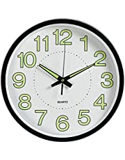 Indoor Outdoor Wall Clock, 12 Inch Large Luminous Outdoor Clock Silent Quartz Movement Battery Operated Decor Clock for Home Garden Patio Pool Fence