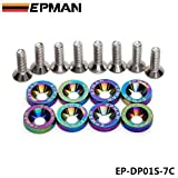 EPMAN 8PCS Neo Chrome Epman CNC billet Aluminum Fender Bumper Washer Bolt Engine Dress Up KIT EP-DP01S-7C