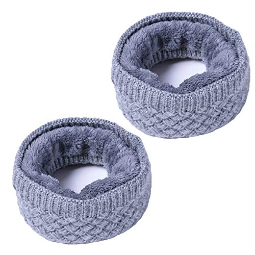 Leories Winter Neck Warmer Fleece Lined Infinity Scarf Thicken Windproof and Dust Skiing Scarf Face Mask Grey/Grey
