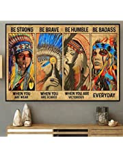 Inheemse Amerikanen zijn sterk als je zwak vintage nieuwigheid grappig badkamer salon bar pub retro home gift werf tuin viering boerderij binnenplaats posters metalen blikken borden muur decor 12x16 inch