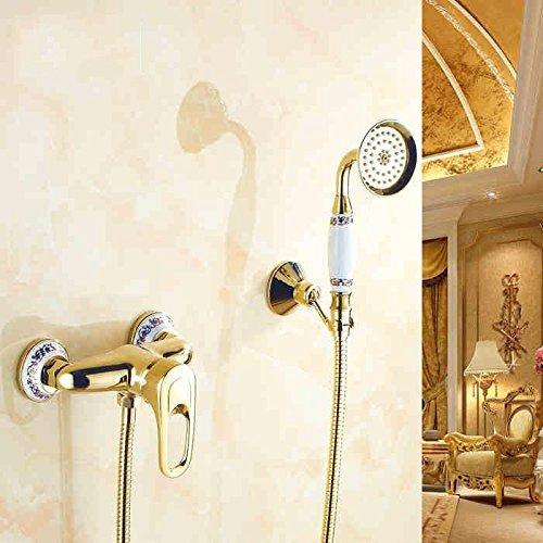 An der Wand angebrachte verGoldete Kupfer blaue und weiße Blaume set Dusche