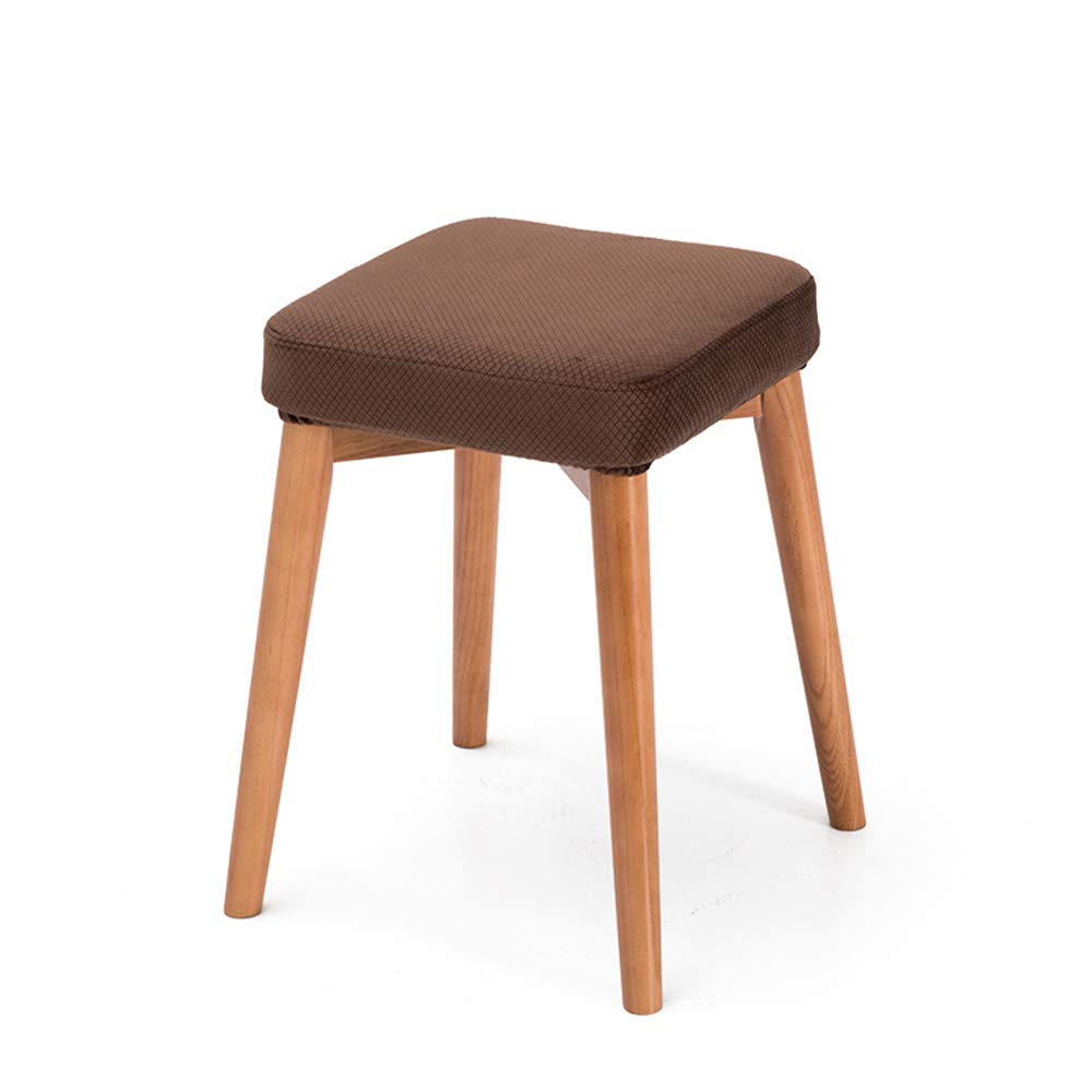Brown2 Stackable Solid Wood Stools, Creative Dressing Stools, Dining Table Stools, High Resilience Mats, Space Saving, Beautiful and Lightweight