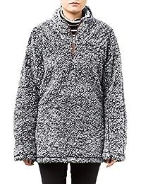 Women 1/4 Zip Pullover Frosty Pile Tipped Sweater Stadium Fleece Sherpa Pullover Hoodie