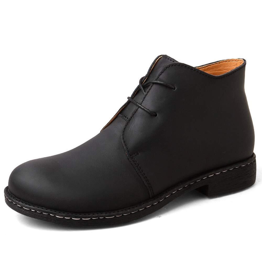 Retro Männer Runde Kappe Lederstiefel Lace Up Mid Ankle Schuhe Arbeit Smart Casual Wüste Chelsea Dealer High Rise Wandern Stiefel