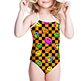 LedBack Little Girls Bikini One Piece Emoji Swimsuit Plaid Beachwear Age 3-8