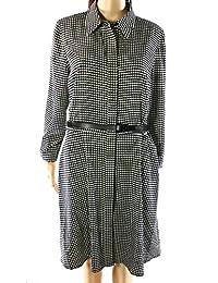 Lauren Ralph Lauren Womens Houndstooth Long Sleeves Shirtdress Black-Ivory 12