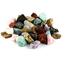 "Crystal Allies Materials: 3 Pounds Bulk Rough Madagascar 12-Stone Mix: Amethyst, Labradorite, Septarian, Rose Quartz, Green Opal, Girasol Opal, Desert Jasper, Blue Apatite, Red Jasper, Petrified Wood, Yellow Jasper & Chrysocolla - Large 1"" Natural Raw Stones & Fountain Rocks for Cabbing, Cutting, Lapidary, Tumbling & Polishing and Reiki Crystal HealingWholesale Lot"