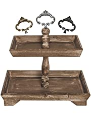 Felt Creative Home Goods Distressed Rustic Wood Two Tiered Tray Brown, 2 Tier Serving Tray for Coffee Bar, Counter top, Dining Table, Cupcake Stand, Holiday Shabby Chic Farmhouse Decor (Rectangle)
