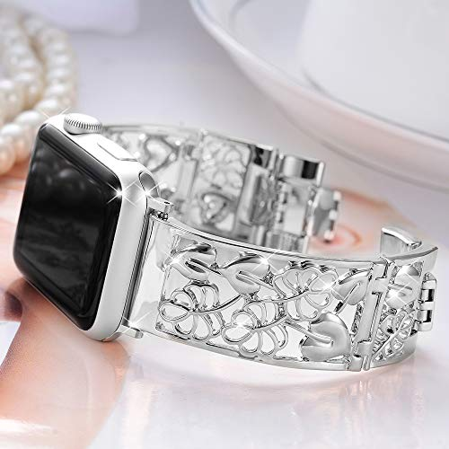 Compatible with Apple Watch Band 40mm 44mm Series 5 4 38mm 42mm Series 3 2, FresherAcc Floral Replacement Straps Compatible for iWatch Bands Bling Women Girls (Silver 40mm 38mm)
