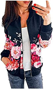 SHOPESSA Women's Zip Up Jacket No Hood Floral Outwear with Pockets Spring Mock Neck Long Sleeve Bomber