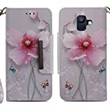 for Samsung Galaxy A6 2018 Wallet Case with Card Holder,Samsung Galaxy A6 2018 Leather Phone Cases and Screen Protector,QFUN Elegant Pattern Design [Pink Lotus] Magnetic Closure Stand Function Shockproof Anti-Scratch Drop Protection Etui Shell Bumper Protective Flip Cover with Lanyard