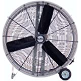 Air King 9236D 36-Inch 2-Speed Industrial Grade Direct Driven Drum Fan with Wheels, Powder Coated Steel Finish