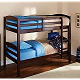 Mainstay Twin Over Twin Wood Bunk Bed, Espresso