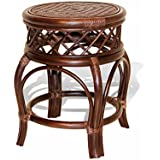 Ginger Handmade Rattan Wicker Stool Fully Assembled Dark Brown