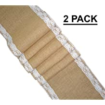 Cotton Craft - 2 Pack - Jute Burlap with Lace Table Runner 12x108 - Natural - Perfect accessory to dress up your dinner table - Eco Friendly - Spot Clean Only