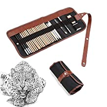 Yosoo Deluxe Graphic Pro Art 18 Pieces Paper Pen Charcoal Sketch/draw Drawing and Sketching Pencil Set in Zippered Carrying Case Artist Pencil Set with Eraser Cutter Knife Pencil for Beginners, Kids or Returning Artists - Art Supplies