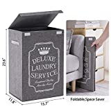 Laundry Hamper with Lid Waterproof Laundry Basket - Collapsible Clothes Hamper for Laundry Closet, Bedroom, Bathroom, College Dorm – 72L Grey