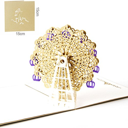 Handmade 3D Gift Greeting Cards Paper ,Paper craft Pop-Up 3D Greeting Cards,Wedding invitations,Congratulation / Anniversary, (gold)