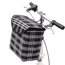 Fold-up Metal Canvas Bike Basket,Sanmersen Folding Portable Canvas Front Handlebar Bicycle Basket with Detachable Hook Removable bag