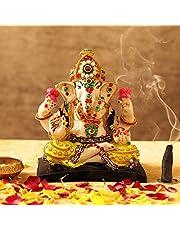 TiedRibbons Lord Ganesh Idol Statue Figurine Decorative Showpiece Sculpture (16 cm X 14 cm X 9 cm, Resin)