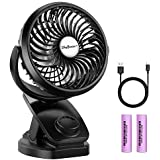 Battery Operated Clip on Fan for Bay Stroller, SkyGenius USB Rechargeable Battery Powered Mini Desk Fan (Max 40Hours)