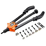 Tacklife Rivet Gun Kit, HHNP1A Professional Long Handle Threaded Insert Tool with 7 Interchangeable Mandrels and 35 Pcs Rivets Nuts, 14 Inch