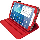 """iGadgitz Premium Rotating Red PU Leather Case Cover for Samsung Galaxy Tab 3 8.0"""" SM-T310 With Auto Sleep Wake + 360 Viewing Angle Stand + Screen Protector"""