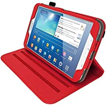 "iGadgitz Premium Rotating Red PU Leather Case Cover for Samsung Galaxy Tab 3 8.0"" SM-T310 With Auto Sleep Wake + 360 Viewing Angle Stand + Screen Protector"