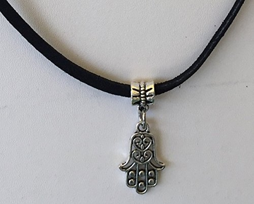Hamsa Charm Hand of Fatmia Necklace Black Faux Leather Cord Statement Necklace Magnetic clasp Peace Handmade Unique Accessories