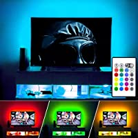 LED TV Backlight, Maylit(tm) Neon Accent LED Lights Strips For 60 to 70 TV Lights, LED Strips USB Bias Lighting, RGB 16 Color 24keys Remote TV Backlight (60-70)
