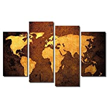 """Picture Sensations Framed 4-Panel canvas Art Print, Abstract Vintage World Map - 48""""X32"""""""