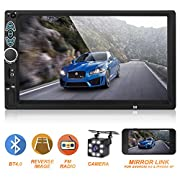 #LightningDeal Double Din Car Stereo,Upgraded Version 7 Inch Touch Screen Car MP5 Player Support Backup Rear View Camera FM Radio Car Audio with Hands-Free Mirror Link
