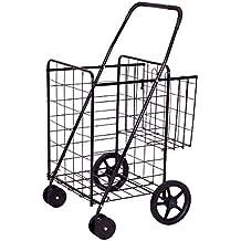 Goplus Folding Shopping Cart Jumbo Double Basket Perfect for Grocery Laundry Book Luggage Travel W/ Swivel Wheels