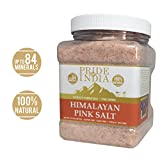 Pride Of India - Himalayan Pink Salt - 84+ Natural Mineral Enriched (Pure Himalayan Pink Salt, Fine Grind 2.5 Pound Jar)
