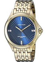Armitron Men's 20/5086BLGP Swarovski Crystal Accented Gold-Tone Bracelet Watch