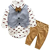 Kimocat Baby Boys' Gentle Romper Set Baby Romper Vest Pants Clothing Set with Bowtie (0-6month(70#))