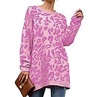 PRETTYGARDEN Women's Casual Leopard Print Long Sleeve Crew Neck Knitted Oversized Pullover Sweaters Tops Pink