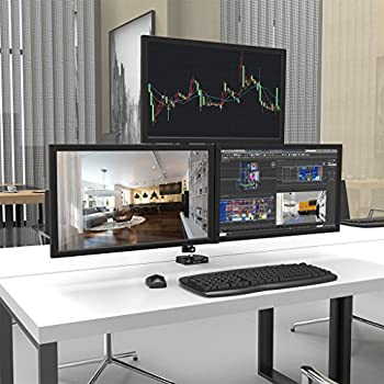 SLYPNOS Triple Monitor Mount Fully Adjustable Desk Free Stand for 3 LCD Screens
