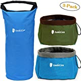 Awakelion Collapsible Dog Bowl Kit, Portable Travel Dog Food Carrier +2 Pack Dog Bowl for Food and Water,Perfect for Medium & Large Dog