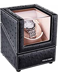 Single Watch Winder Newly Upgraded, with Flexible Plush Pillow, in Wood Shell and Black Leather, Japanese Motor...