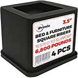 iPrimio Bed and Furniture Square Risers - 4 Pack 3.5 INCH Size - Wont Crack & Scratch Floors - Heavy Duty Rubber Bottom - Patent Pending - Great for Wood and Carpet Surface