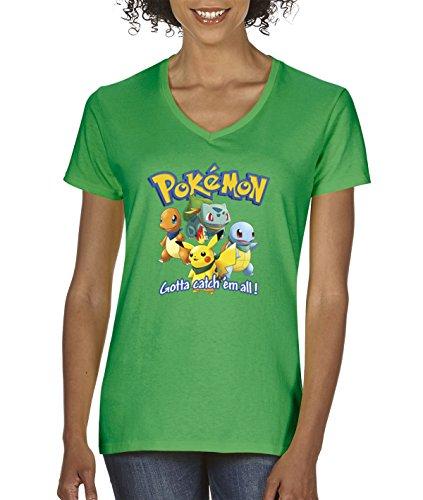 allwitty 1118 - Women's V-Neck T-Shirt Pokemon GO Starter Pikachu Squirtle Charmander Bulbasaur Intermediation Kelly Green