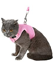 Escape Proof Cat Harness with Leash - Adjustable Soft Mesh - Best for Walking Pink Medium