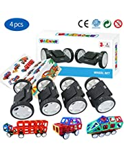 Magblock 4 Pieces Wheels Set, Compatible with Other Brands of Standard Size Square Shape with Hole Magnetic Blocks, are not Suitable to Magnetic Tile Without Hole, Wheels Bases for Kids/Toddler Toys