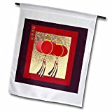 3dRose fl_40278_1 Happy New Year in Chinese, Red Lanterns with Tassels Garden Flag, 12 by 18-Inch