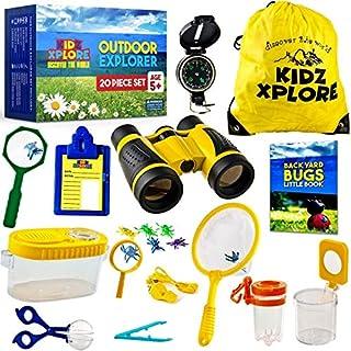 Kidz Xplore Outdoor Explorer Set - Bug Catching Kit Nature Exploration Children Outdoor Games Mini Binoculars Kids, Compass, Whistle, Magnifying Glass, Adventure, Hunting, Hiking Educational Toy