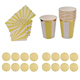 Dovewill 44pcs/Set Disposable Stripes Paper Plates Cups Napkin Party Tableware Set - Yellow